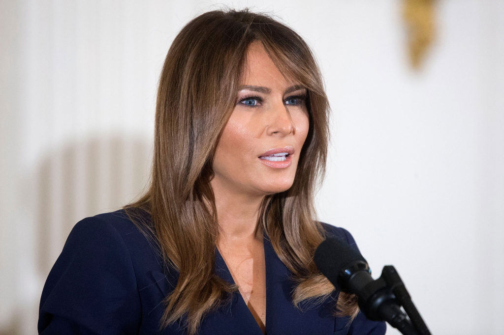 Mandatory Credit: Photo by MICHAEL REYNOLDS/EPA-EFE/Shutterstock (9666954q) Melania Trump US President Donald J. Trump, Washington, USA - 09 May 2018 First Lady Melania Trump delivers remarks at an event with military mothers and spouses in the East Room of the White House in Washington, DC, USA, 09 March 2018. US President Donald J. Trump signed an executive order on federal job opportunities for military spouses.